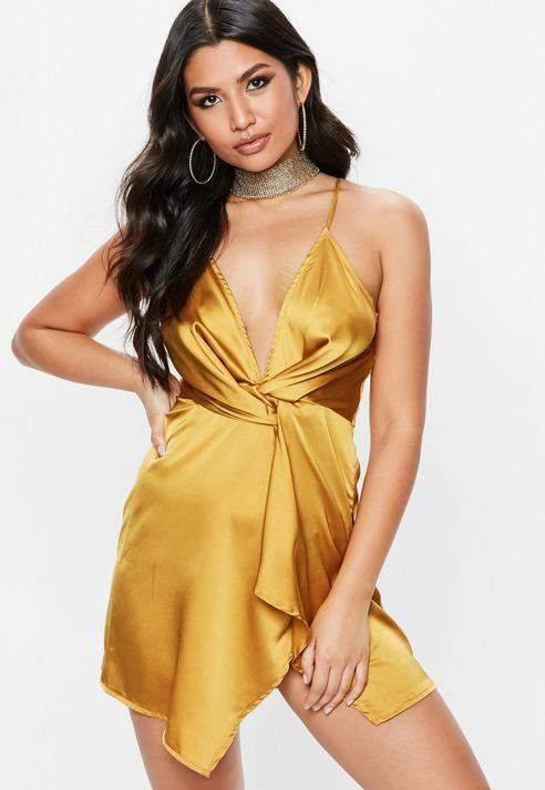 Missguided Yellow Strappy Silky Knot Front Shift Dress