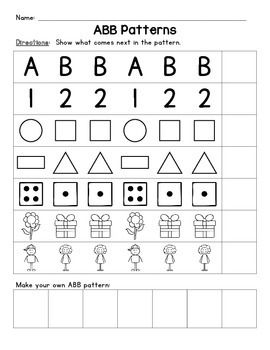 Free Worksheets pattern activity for kindergarten : AAB and ABB Patterns | Activities, Shape and Dice