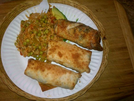 Mexican egg rolls and spanish rice mmmm