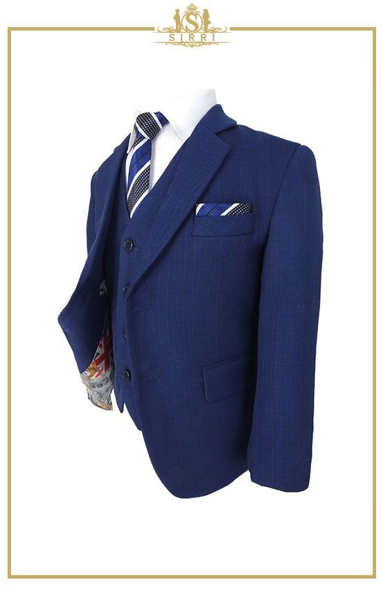 Kleinkarierter All In One Jungen Anzug Set In Marineblau In 2020 Anzug Anzug Jungen Blauer Anzug