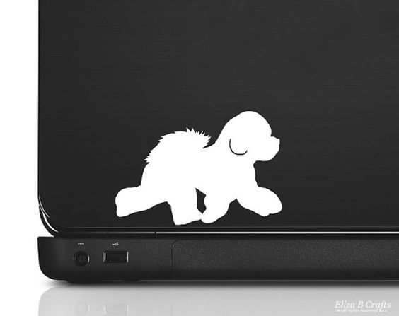 bichon frise silhouette vinyl sticker decal good for cars walls ipads etc - Frise Vinyle