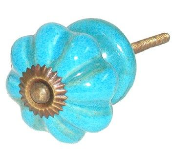 AS MANY* CERAMIC TURQUOISE ANTIQUE DOOR KNOBS/HANDLES
