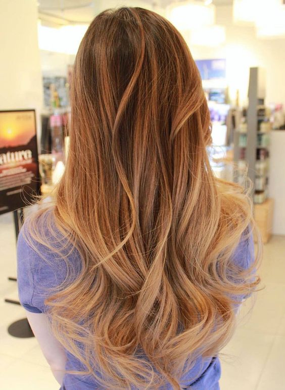brown hair with caramel and blonde balayage highlights