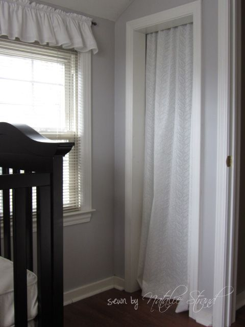 Curtain panel, tension rod = replaces bi-fold doors on closets. I ...