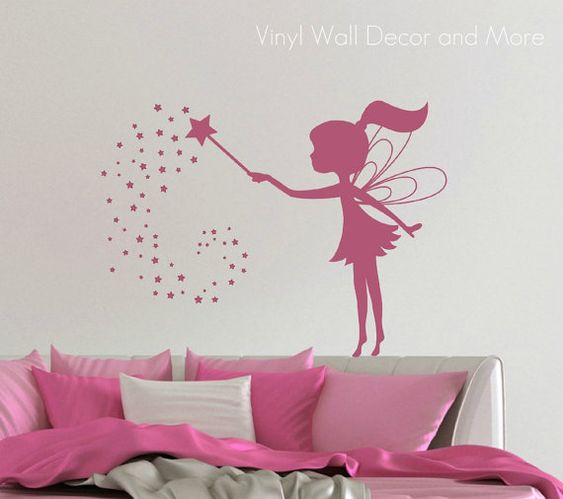My youngest just mite LOVE this! ) Its really so cute! Vinyl Fairy Wall Decal by lisamingersoll on Etsy, $23.00