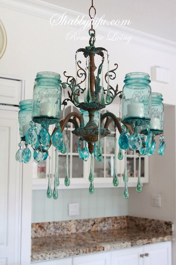 http://www.shabbyfufu.blogspot.com/ The Original Aqua Mason Jar chandelier from Shabbyfufu Designs