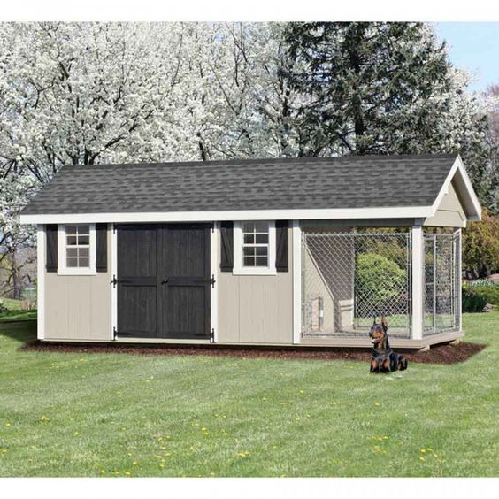 Dog kennels large dogs and amish on pinterest for Dog kennel shed combo plans