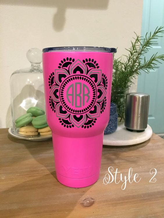 Monogrammed Hot Pink Powder-Coated Yeti - perfect for back to college!