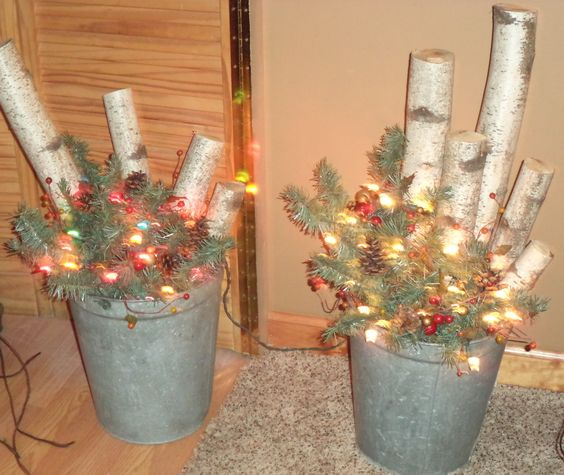 Galvanized buckets rustic christmas and birches on pinterest for Christmas tin pails