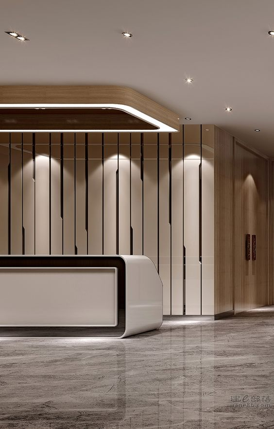 Lobby reception the wall and timber cladding on pinterest for Reception design hotel