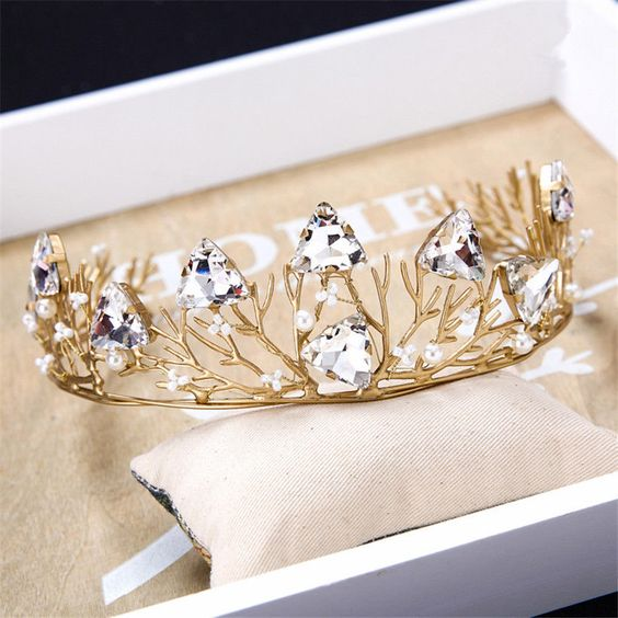 Wedding Bridal Gold Baroque Crystal Rhinestone Crown Hair Accessories Tiara Band #TiaracrownhairaccessoriesheadbandBand