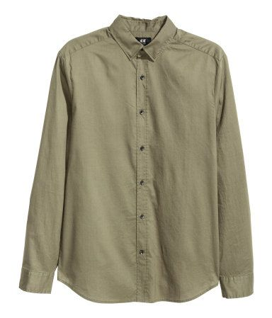 Cotton Shirt Regular fit | Khaki green | Men | H&M US