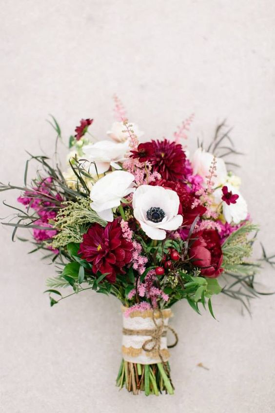 My bridal bouquet from Clementine floral designs. Burgundy,wine, white, and blush pink for a fall November wedding.