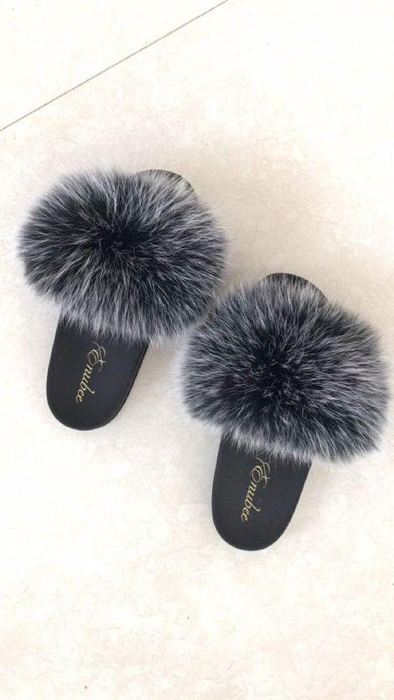 100% Fox Fur Slippers Black
