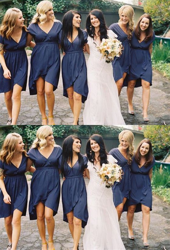 Navy Blue V Neck Short Sleeves Bridesmaid Dresses Plus Size Prom Dresses Bridesmaid Dresses Plus Size Blue Bridesmaid Dresses Short Short Sleeve Bridesmaid Dress