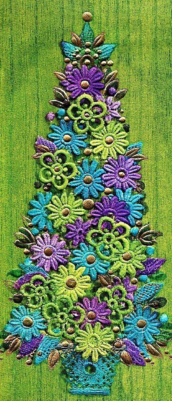 Vintage 1960's Mod Christmas Tree Card