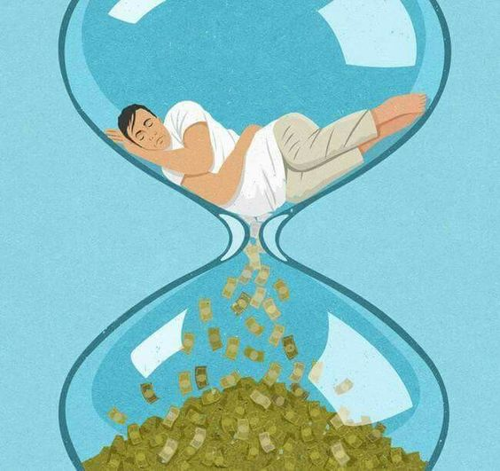 When you sleep on it, your money is passing like sand in a hour glass.  #WakeUp #TimeIsMoney   (art by John Holcroft)