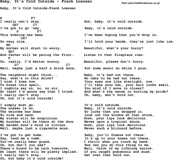 Song Baby, It\'s Cold Outside by Frank Loesser, with lyrics for vocal ...