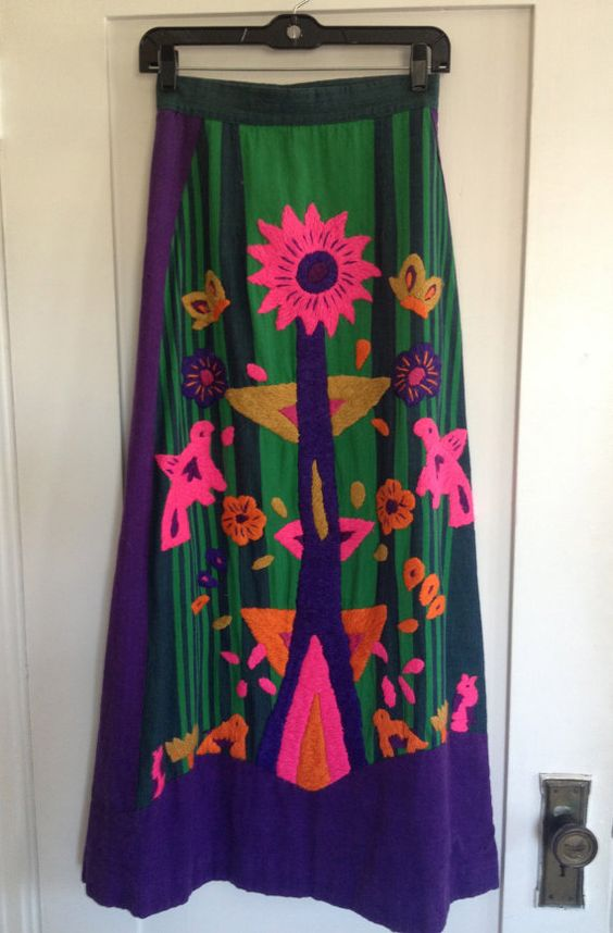 Amazing Vintage Mexican Embroidered Psychedelic Maxi Skirt by Girasol designer Gonzalo Bauer, available here:  https://www.etsy.com/shop/CuratorialDepartment?ref=l2-shopheader-name