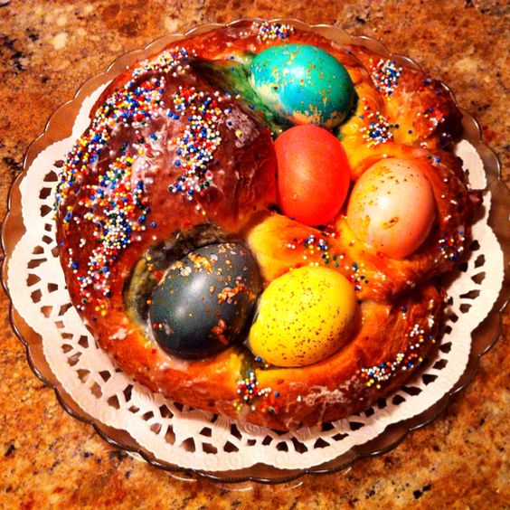 My Mom's Easter bread, an annual family tradition. Yep, you can eat the eggs!
