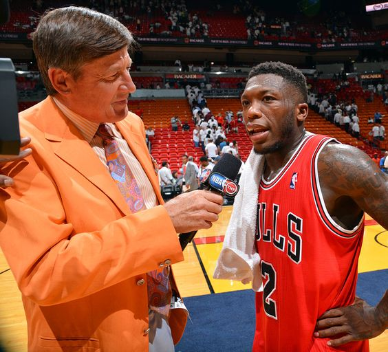Craig Sager interviews Nate Robinson following the Chicago Bulls win over the Miami Heat in Game One of the Eastern Conference Semifinals on May 6, 2013 at AmericanAirlines Arena in Miami.Craig Sager interviews Nate Robinson following the Chicago Bulls win over the Miami Heat in Game One of the Eastern Conference Semifinals on May 6, 2013 at AmericanAirlines Arena in Miami. Jesse D. Garrabrant/NBAE via Getty Images