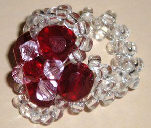 ** Beaded Ring With Crystal Bi-Cone Crystals @happygiraffe