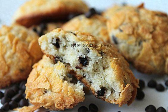 Biscotti+morbidi+con+gocce+di+cioccolato+fondente+ +ricetta+semplice