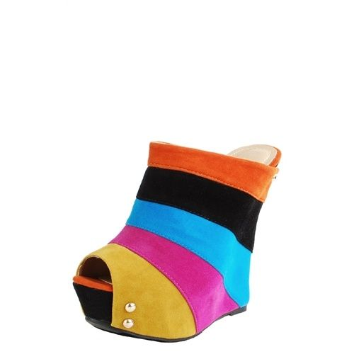 Color Block Peep Wedge