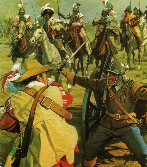 Combat between Cavaliers and Roundheads, English Civil War ...