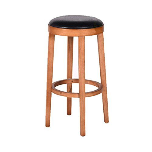 Lh Yu High Stool Retro Solid Wood Stool Round Stool Bar Stool Pu Seat Filling Sponge Wooden Pedal Table Stool Bar Cafe Restau With Images Round Stool Bar Stools Wood Stool