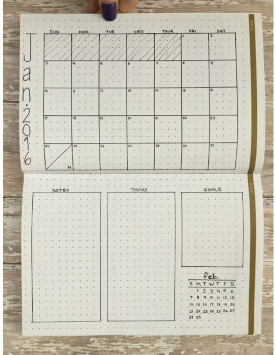 Minimalistic monthly planner / bullet journal layout ...