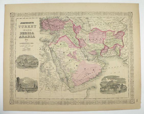 1800s Saudi Arabia Map Persian Gulf 1867 Johnson Map Iraq – Map of Iraq and Afghanistan
