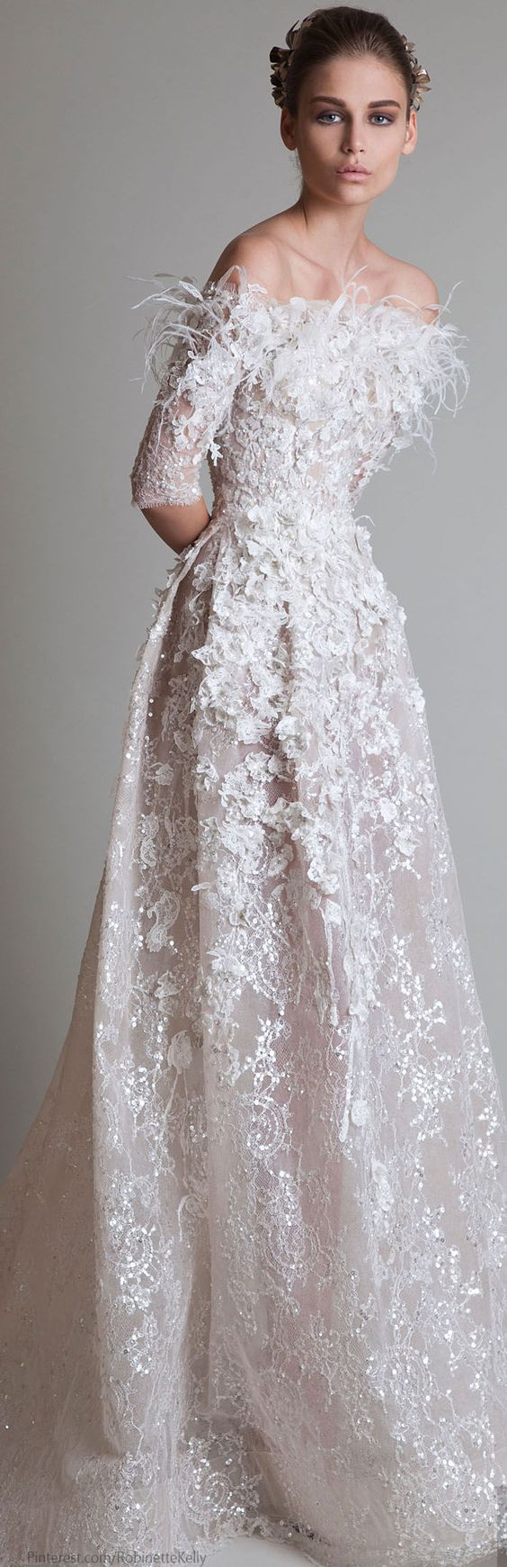 Krikor jabotian couture 2014 feather and beaded wedding for Feather wedding dress davids bridal