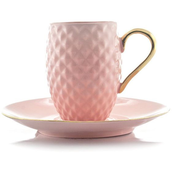 Pastel Pink Espresso Cup, Pineapple Pattern Cup, Textured Cup ($40) ❤ liked on Polyvore featuring home, kitchen & dining, drinkware and bone china