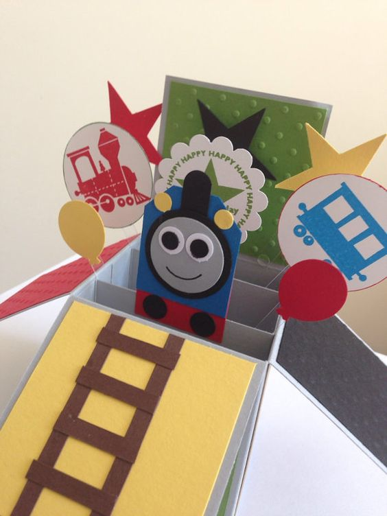 Handmade birthday card in a box kids train fun by Deeshandcrafted