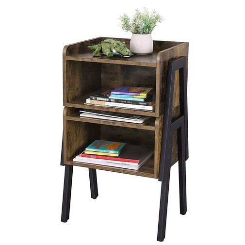 Parkes Wood Stackable End Table With Storage End Tables With