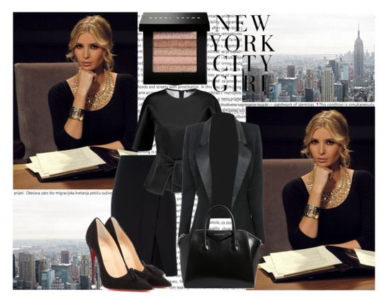 """""""Ivanka Trump, boardroom beauty"""" by dalya-b ❤ liked on Polyvore featuring Oris, Bobbi Brown Cosmetics, DKNY, Christian Louboutin, Raoul and Givenchy"""