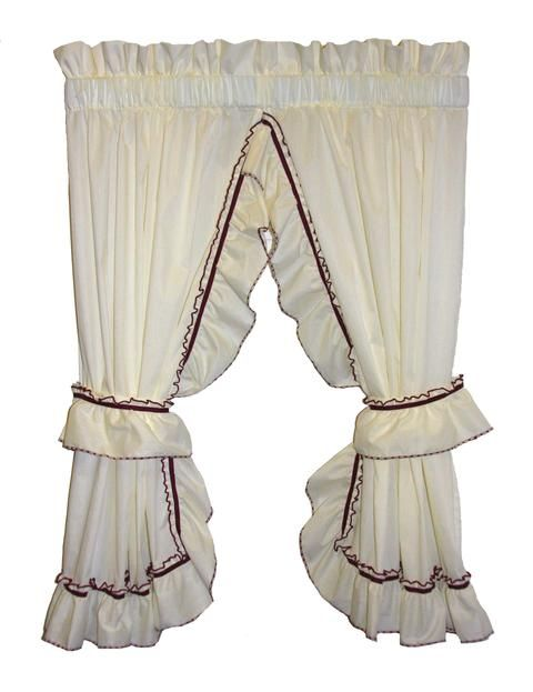 Madelyn Victorian Ruffled Priscilla Curtains With Lace Edging