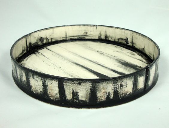 Large Handbuilt Black and White Earthenware Platter Olia Lamar: