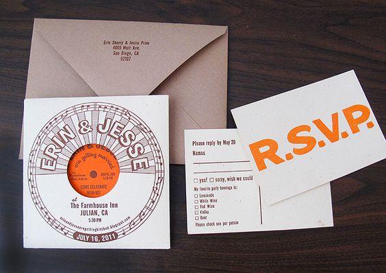 record style letterpress wedding invitations.