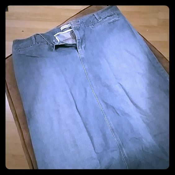 Long denim skirt Long, stone wash denim skirt in excellent used condition. Old Navy Skirts