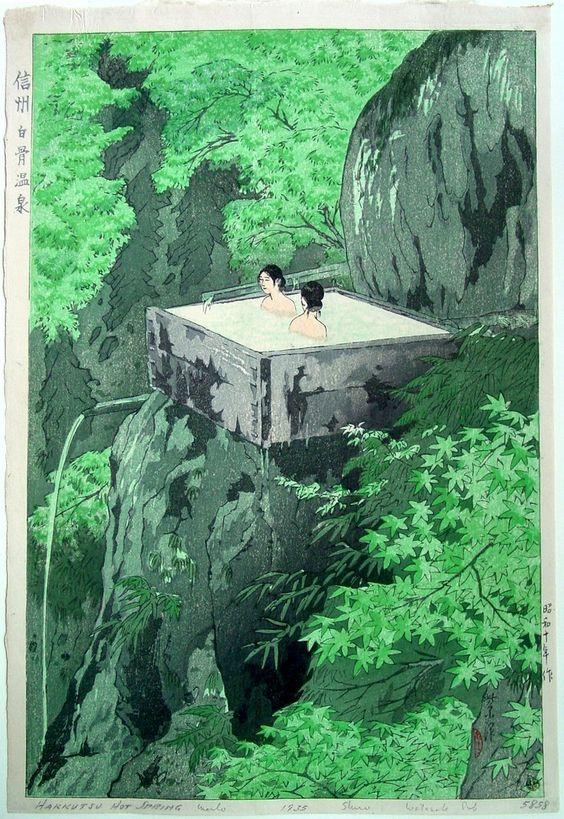 Shirahone Hotspring, Shinshu, by Shiro Kasamatsu, 1935 -- See also at: http://www.hanga.com/viewimage.cfm?ID=2599