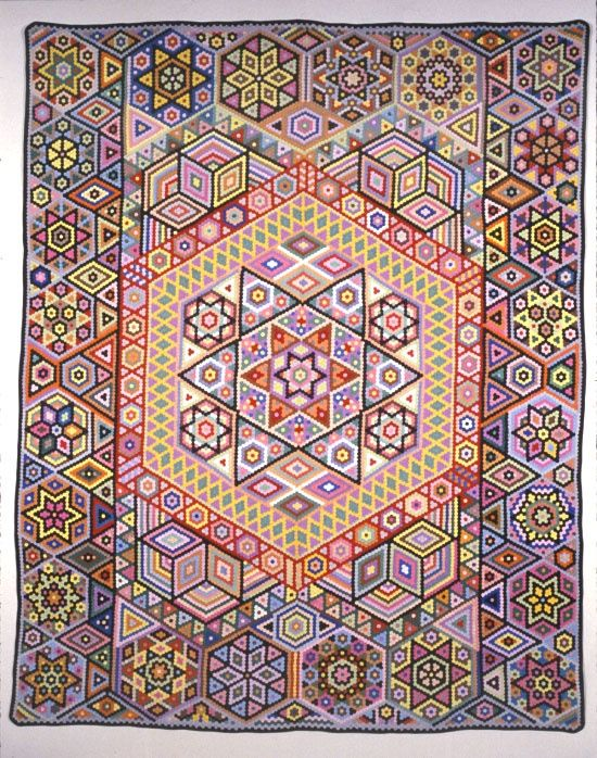 Hexagon quilt by Albert Small, early 20th century, made with 1/2' English paper pieced hexagons. Posted by the Appalachian Center for Crafts Fiber Department.: