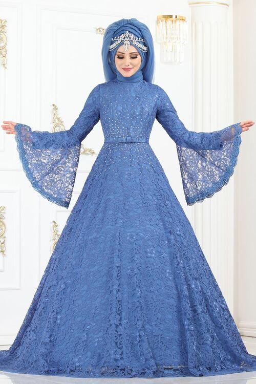 Modaselvim Abiye Volan Kol Tasli Dantel Abiye 5143ay342 Mavi Elbiseler Kiyafet Elbise