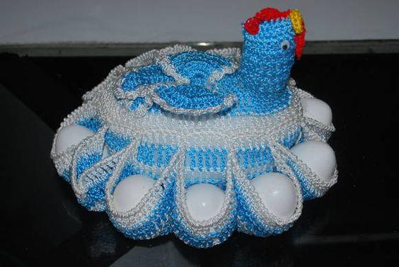 Porta ovos galinha  em crochê | Meires Croche | 2A0D21 - Elo7