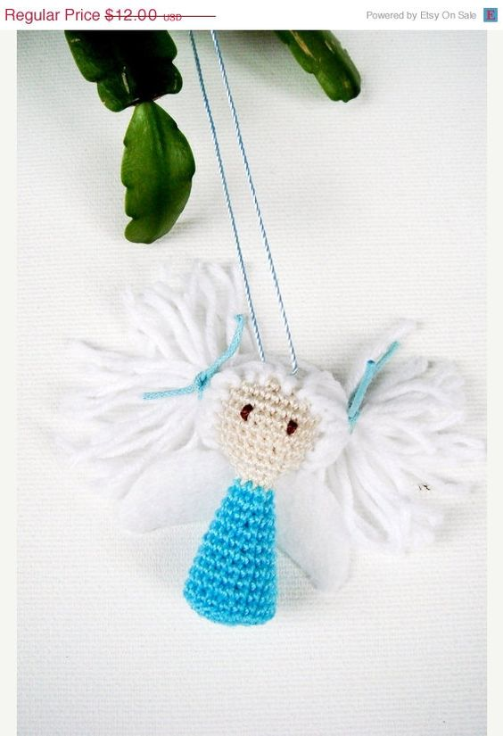 Blue Angel Christmas Tree Ornaments Holiday by MiracleFromThreads, $10.20