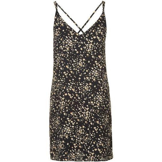 TopShop Animal Print Slip Dress ($46) ❤ liked on Polyvore featuring dresses, black, v-neck dresses, strappy dress, black vneck dress, black plunge dress and kohl dresses