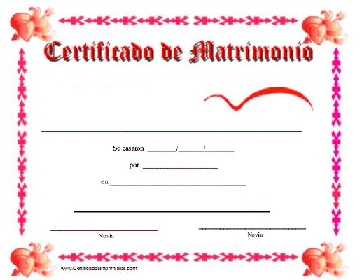 Matrimonio Catolico Divorcio : Certificado de matrimonio para imprimir los certificados
