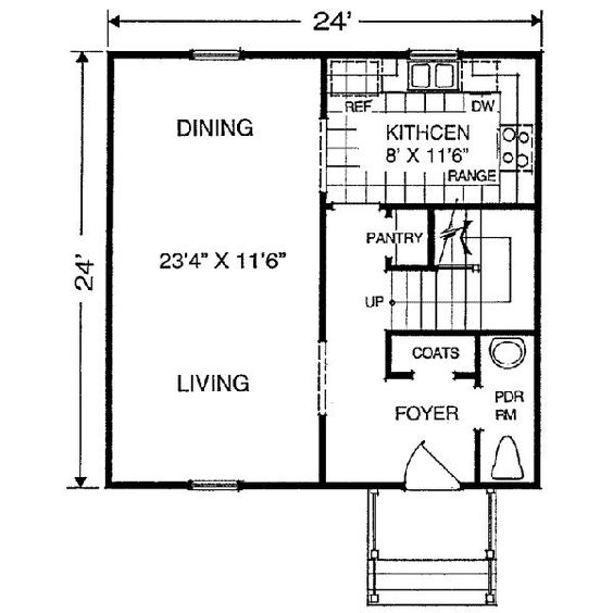 24x24 1152 square feet 3 bedrooms 1 batrooms on 2 for 24x24 cabin floor plans