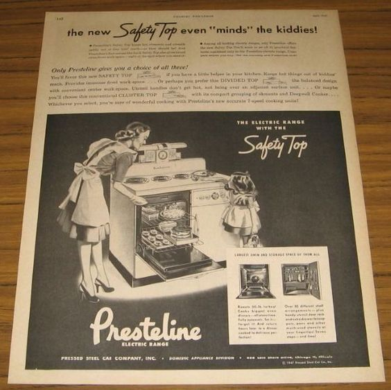 1947 Print Ad Presteline Electric Range with Safety Top Chicago,IL #VintageAd